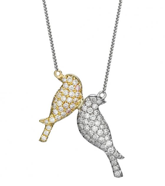 Diamond birds pendant
