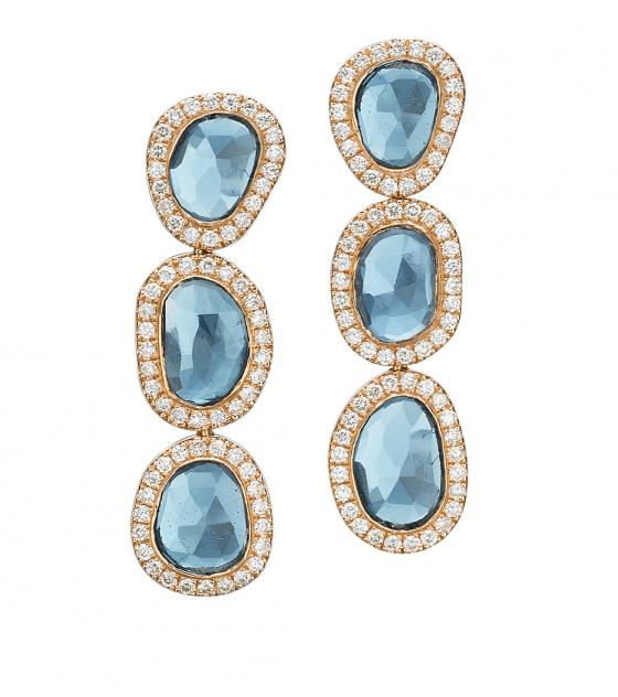 Three stone topaz earrings