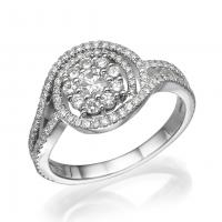 Halo flower diamond ring